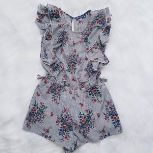 Large Truly Me by SaraSara Striped Floral Romper
